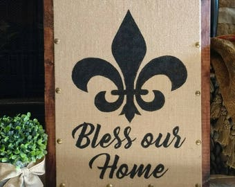 "17.5"" x 13.5"" Bless our Home Hand painted Burlap Panel Board Pallet Wood Sign"