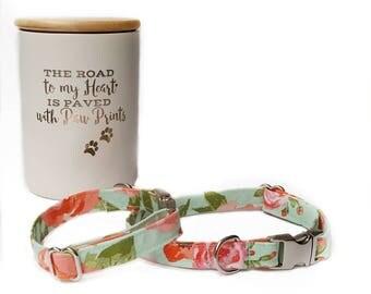 Pretty Dog Collar, Girl Dog Collar, Mint Dog Collar, Dog Wedding Collar, Floral Dog Collar, Vintage Collar, Flower Dog Collar, Coral Collar