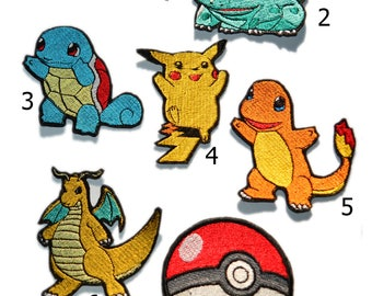 Pokemon Characters Inspired Iron on Embroidered Patches, Pokemon, Pikachu, Pokeball, Bulbasaur, Charmander, Squirtle, Pokemon Go Set