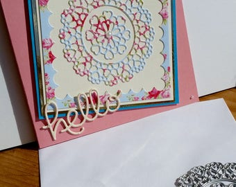 A square blank pink card, handmade, handcrafted, embellished.