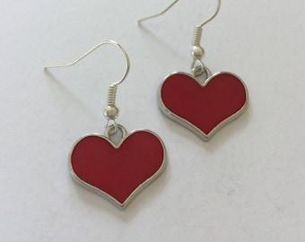 Red heart earrings / heart earrings / heart jewellery / heart gift