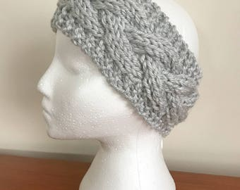 Gray Cabled Knit Headband - Knit Adult Earwarmer - Girls Headband - Cable Headband - Chunky Cable Headband - Grey Knit Headband