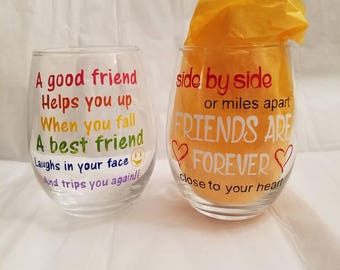 15 oz friends wine glass
