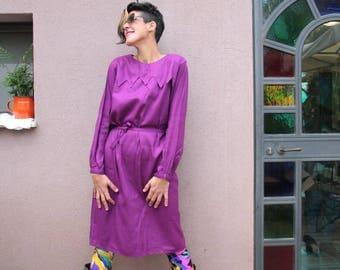 Purple Cotton Vintage Dress, 70s Dress, VTG Dress, 70s Clothing, 60s Clothing, Vintage Clothing, Cool Dress, Womens Dress, Purple, M / L