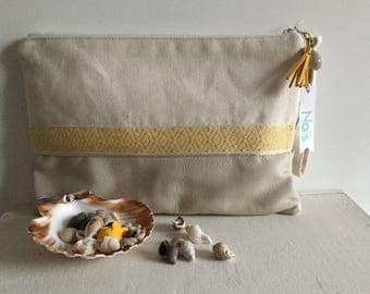 Hand-bag / clutch cotton ecru and beige leather