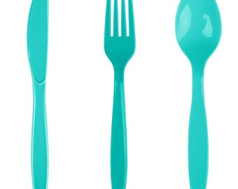 24PCS Teal Heavy Duty Plastic Cutlery Assorted Pack, Wedding Decorations, Decor, Party Decorations, Party, Wedding, cutlery