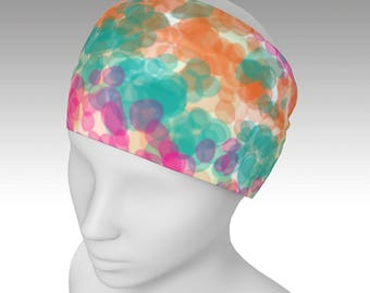 Headbands, Yoga Headband, orange, green, and pink floral headband, women's headband, neck warmer, infinity scarf