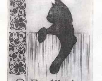 """Engraving """"Ex Libris. Cat"""""""