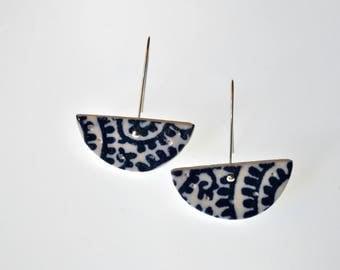 Blue swirl pattern swing dangle statement porcelain earrings