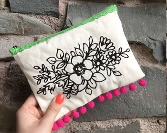 Embroidered Floral Design small bag with Lace exposed zip and bright pom pom trim-make-up-pencil case- accessory purse