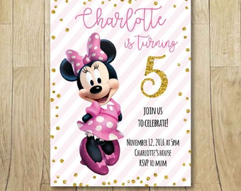 Printable Minnie Mouse birthday party printable invitation