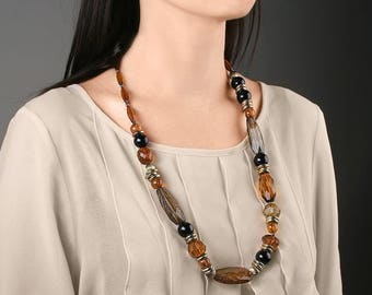 Long bead necklace Boho necklace Brown Big necklace Chunky gray necklace Statement jewelry Lucite necklace Gift under 15 Autumn necklace