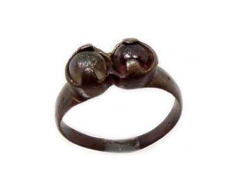 Genuine Ancient Roman Ring Bronze Ring Roman Provincia Lycia Two Original Glass Quartz Gemstones AD100 Ancient Ring Size 8 #60655