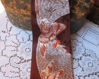 Vintage necktie, 1940s, Pheasants