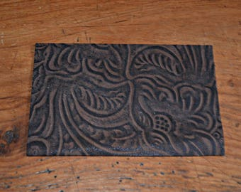 Genuine Brown calf leather coupon dark (8994465)