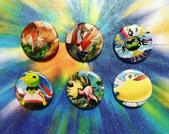 Choose Your Buttons - Set Of Six Flying Type Pokemon Buttons!