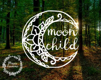 Moon Child - Moon Decal - Moon Child Sticker - Boho Style - Bohemian Moon - Boho Sticker - Decal For Women - Car Decal - Mandala Sticker