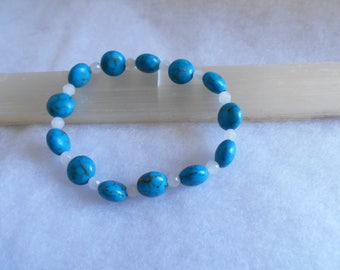 Turqoise and White Jade Strech Bracelet