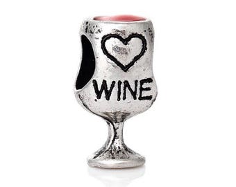 Love heart red wine charm bead