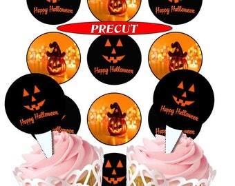 Halloween (1)  edible cupcake toppers, precut, 2 sizes 4 choices