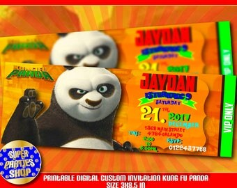 Kung Fu Panda  Digital personalized invitation,Ticket,VIP invite, Kung Fu  party,Po  invite ,Kung fu panda 3  Party  Birthday,Shi fu, Tigres