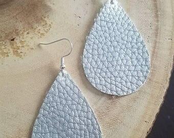 Silver faux leather teardrop earrings