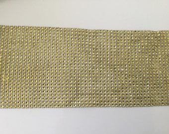 Rhinestone Ribbon 24 line plastic gold 12 mm in width