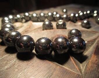 Beautiful round hematite beads.
