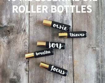 10 ml Essential Oil Roller Bottles - ONE Bottle with DECALS included - 3 Bottle Color Options Available -