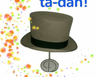 Vintage Dunn & Co Grey Top Hat   (173)