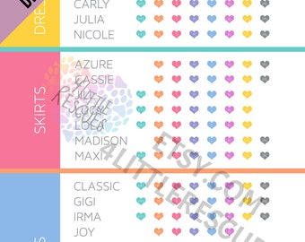 Updated Styles | Size Chart for LLR Consultants | Customer Punch Card for Clothing Sizes | Printable | Business Card Size or 4x6