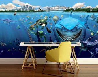 underwater shark wallpaper, underwater fish wallpaper, fish decal, underwater wall mural, shark wall mural, kids wallpaper, cartoon shark