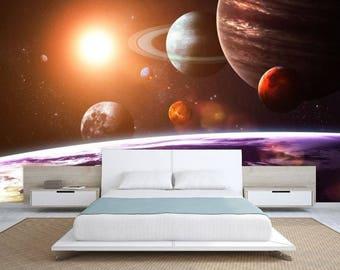 Planet Solar System Wallpaper, Solar System Wall Mural, Galaxy Wallpaper,  Galaxy Wall Decal Part 63