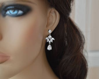 Bridal Earrings, Cubic zirconia Earrings.