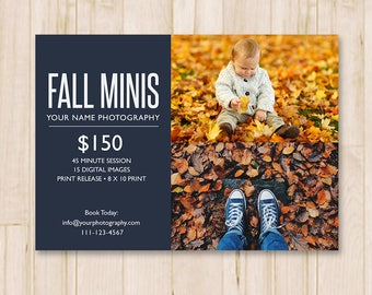 Fall Mini Sessions Template - Fall Minis Template, Autumn, Booking Ad, Photography Marketing Board, Photoshop Template *INSTANT DOWNLOAD*