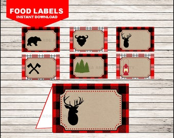 50 Off Sale Lumberjack Food Labels instant download, Lumberjack Tent cards , Lumberjack Party Food tent cards