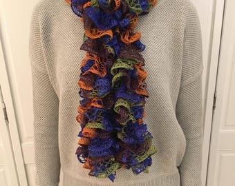Multi-Colored Ruffle Scarf - Blue, Purple, Green and Orange