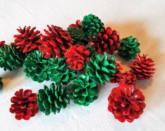 24 Red and Green Pine Cones, Christmas Pine Cones, Holiday Pine Cones, Winter Pine Cones, Red Pine Cones, Green Pine Cones, Winter Decor