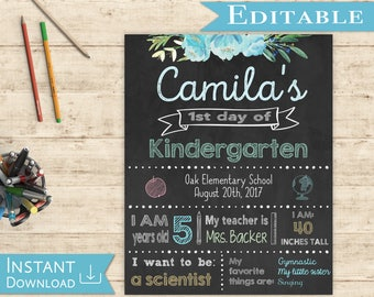 First day of School Editable Sign Chalkboard Girl Back to School 1st day of School, DIY Printable Photo, Shabby Chic, Blue Flowers