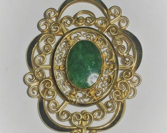 Vintage Signed WINARD Genuine Jade 12k Gold Filled Filigree Pendant,  Estate Jewelry