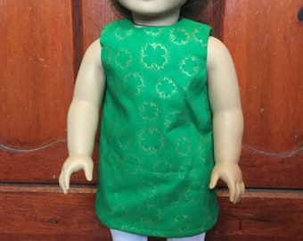18 Inch Doll Clothes - Green & Gold Clover Dress