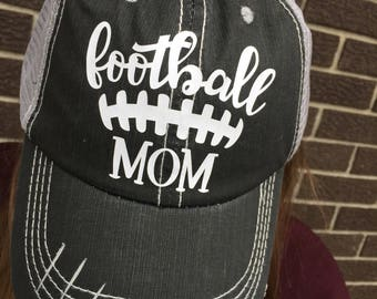 Football Mom Custom Distressed Trucker Hat-Black with white