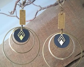 Earrings inner tube and brass