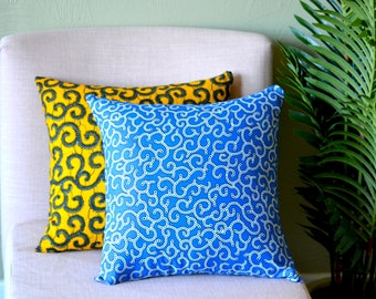 Blue Spirals // Ankara Throw Pillow Cover // African Print // 18 x 18