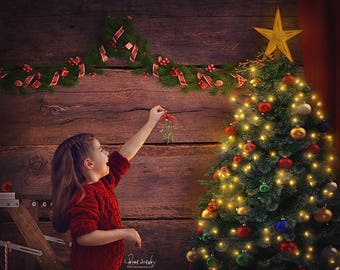 Christmas Digital Background - Christmas Tree Backdrop - Christmas Backdrop - Christmas Card - Photography Backdrop - Christmas Background