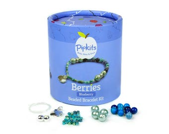 Berries Beaded Bracelet Pipkit Blueberry, Available in 3 colours, Contains all the Materials to Make 1 Bracelet