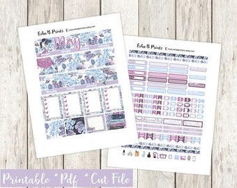 Secret Garden Monthly Printable Planner Stickers/Weekly Kit/Monthly View/For Use with Erin Condren/Fall Mothers Day Floral Flowers Glam