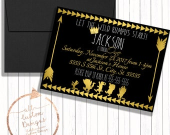 Where the Wild Things Are Invitation - Wild Things Birthday Invitation - Wild Rumpus Birthday - Where the Wild Things Are Invite