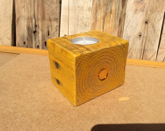 Candle holder wood yellow ochre