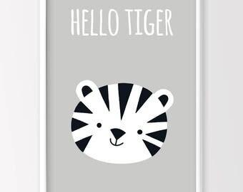Hello Tiger Print, Tiger Print, Monochrome Nursery, Monochrome Kids Room, Kids Printable Art